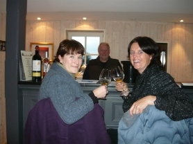 Brian, Claire and Liz doing the first wine tasting of 2014