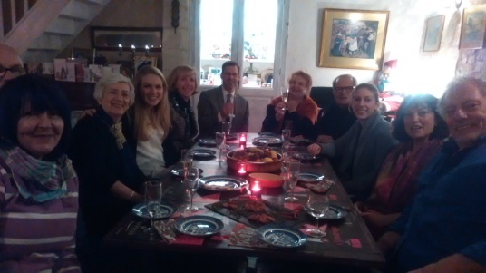 Aperitifs on Christmas Eve here at Le Clos des Guyons in the Loire Valley.