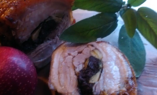Roast Pork, black pudding , apples and sage